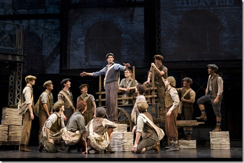 _MG_3562 Disney's Newsies, directed by Jeff Calhoun at Papermill Playhouse 9/15-10/16/11 Music by Alan Menken Lyrics by Jack Feldman Book by Harvey Fierstein Based on the Disney Film written by Bob Tzudiker and Noni White Choreography by Christopher Gattelli Lighting Design:Jeff Coiter Costume Design: Jess Goldstein Set Design: Tobin Obst Photograph © T Charles Erickson  http://tcharleserickson.photoshelter.com/