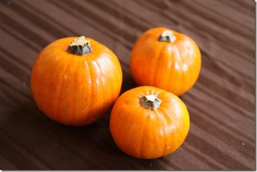 Three mini Pumpkins on a brown tablecloth