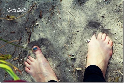 myrtle beach feet in the sand