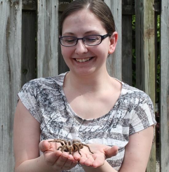 Kristy holds a tarantula