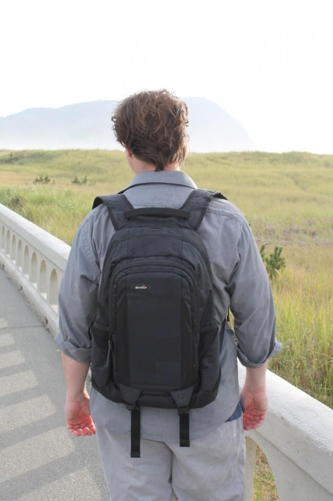 Jai wearing his Evolve Solar Backpack
