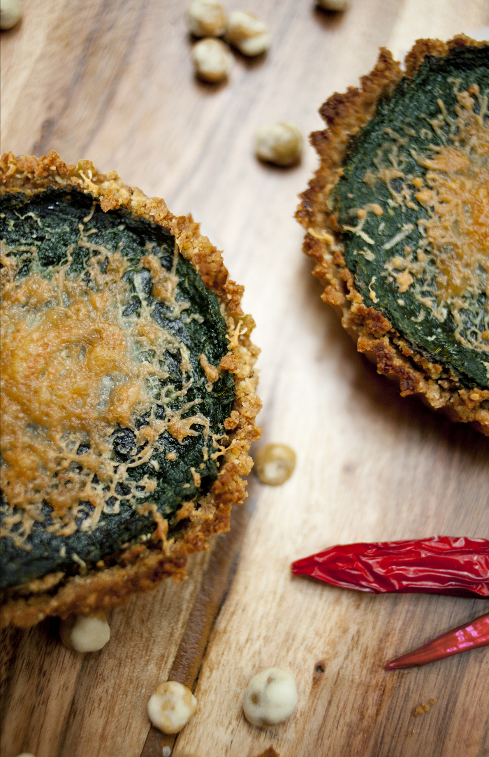 Spinach Tart with Garlic Sesame Crust