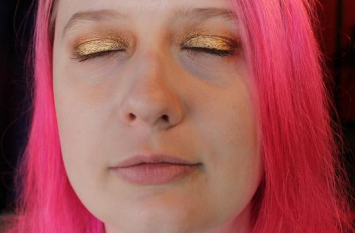 Makeup application closeup