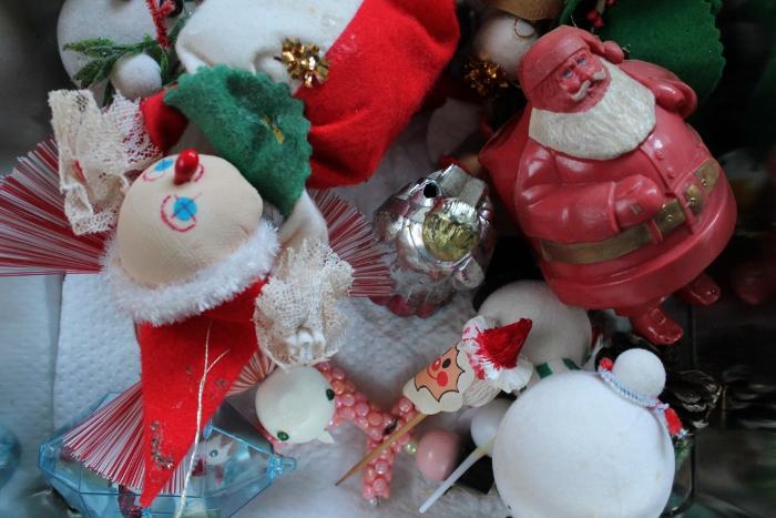 Box of vintage ornaments