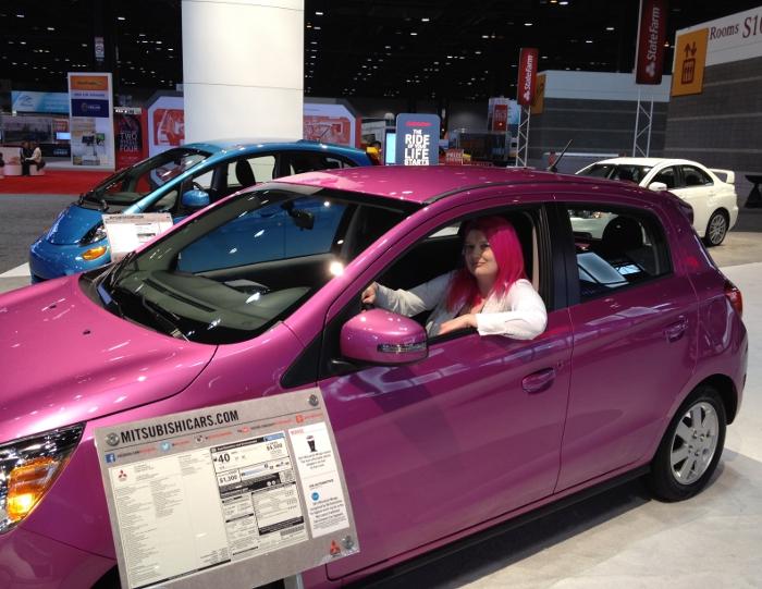 Pink car, pink hair