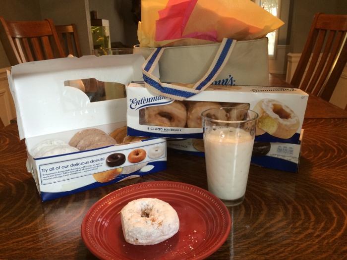 Entenmann's donut & a glass of milk