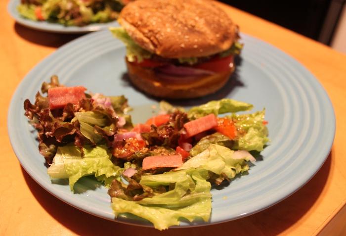 Burger & SPAM Salad
