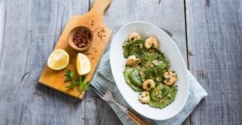 Shrimp with Spinach & Artichoke Ravioli