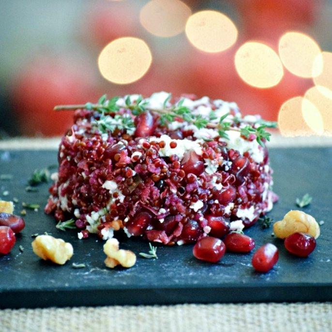Blue Cheese, Pomegranate and Quinoa Caviar