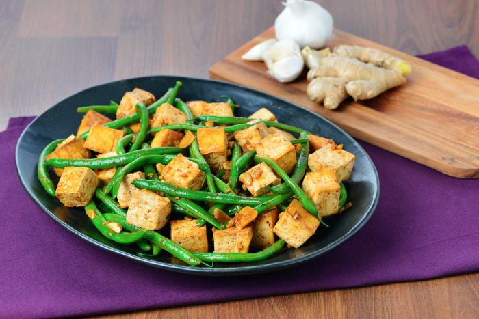 Baked Szechuan Tofu with Ginger Green Beans