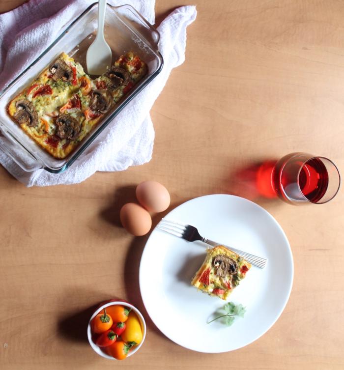 Egg casserole & juice breakfast