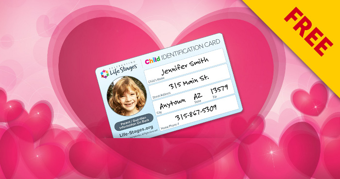 photo relating to Free Printable Child Identification Card identified as No cost Printable Boy or girl Identity Card - MomStart