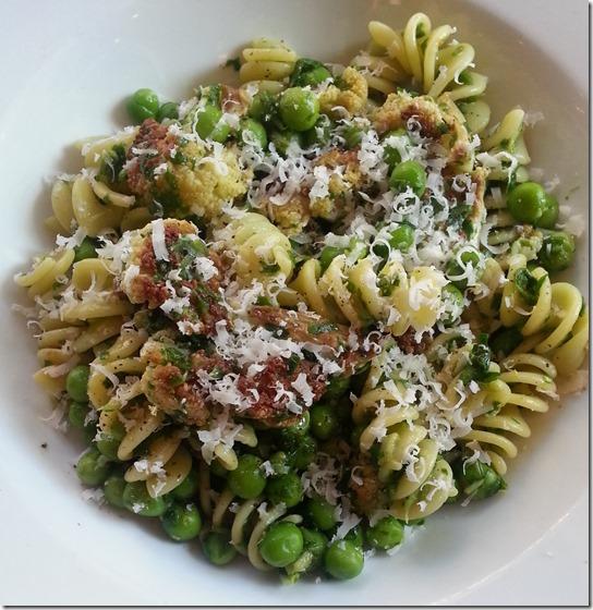 Fusilli with Lemon-Arugula Pesto, Roasted Cauliflower & Green Peas--no filter