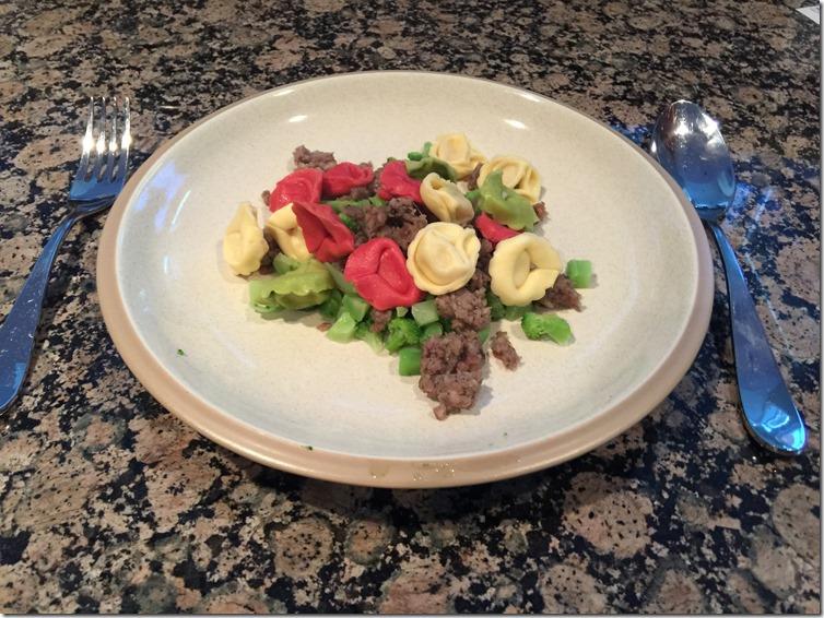 rainbow sausage brocchli pesto