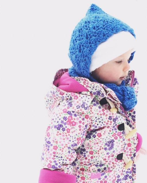 Juniper wearing her new coat