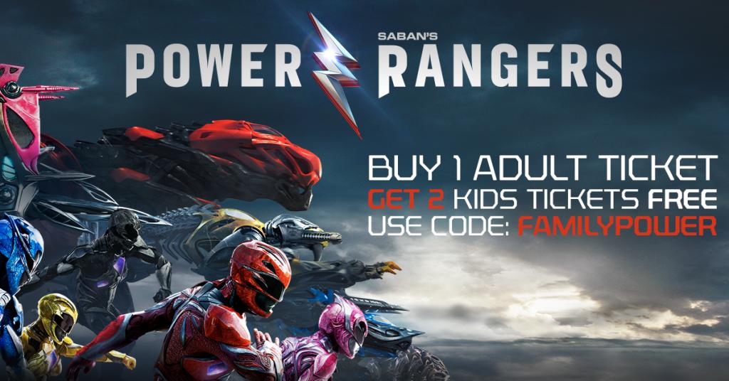 Buy 1 Adult Power Rangers Ticket, Get 2 Kids Tickets Free!