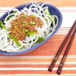 Daikon Radish Noodles with Sichuan World Peas Sauce