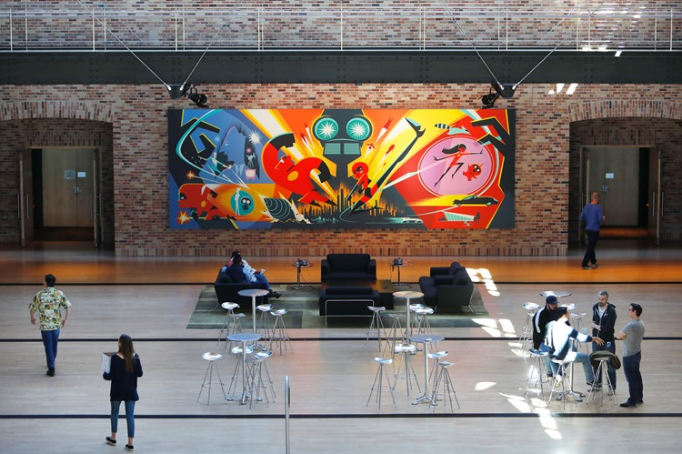 Incredibles 2 concept art, seen in the Steve Jobs building atrium, as seen on March 26, 2018 at Pixar Animation Studios in Emeryville, Calif. (Photo by Deborah Coleman / Pixar)
