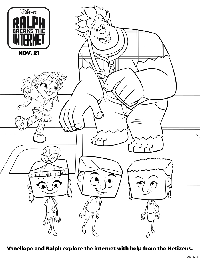 Vanellope and Ralph Coloring Sheet