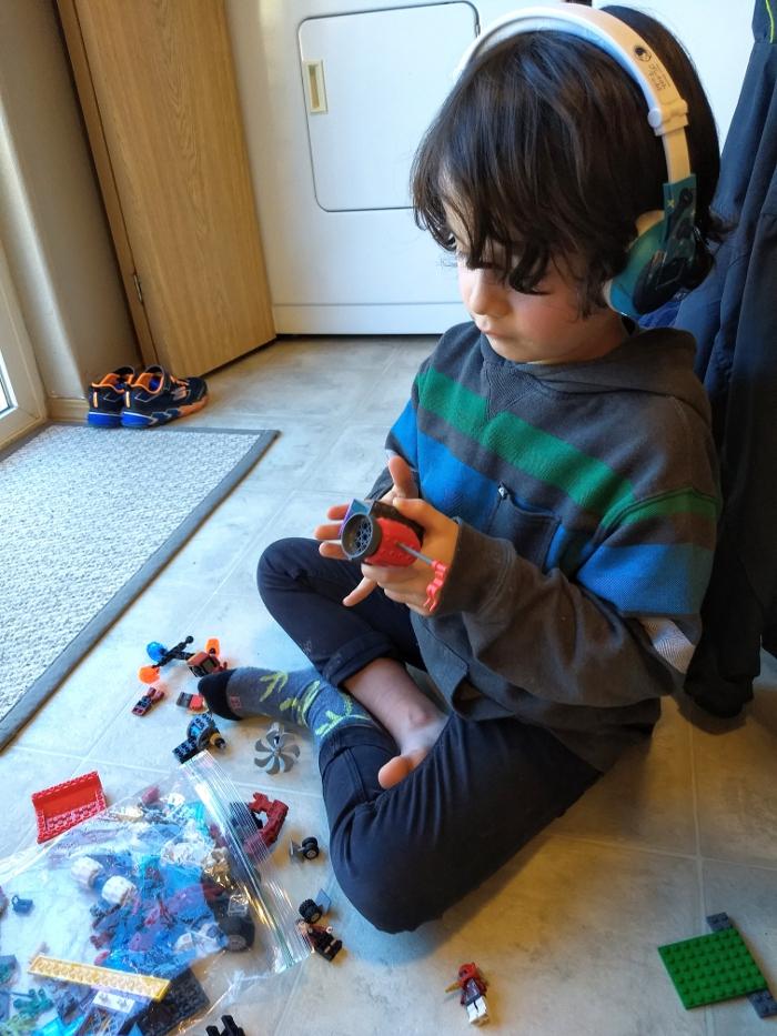 Legos + BuddyPhones = Calm!