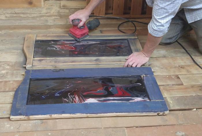 Sanding the frame